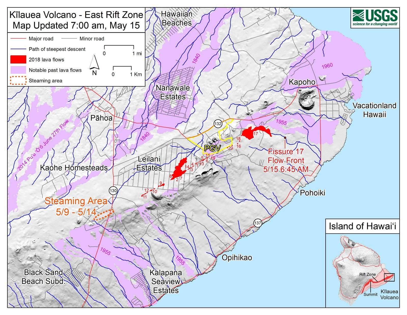 Kilauea - east rift zone - map of fissure and lava flows updated in 15 may 2018 - Doc. HVO