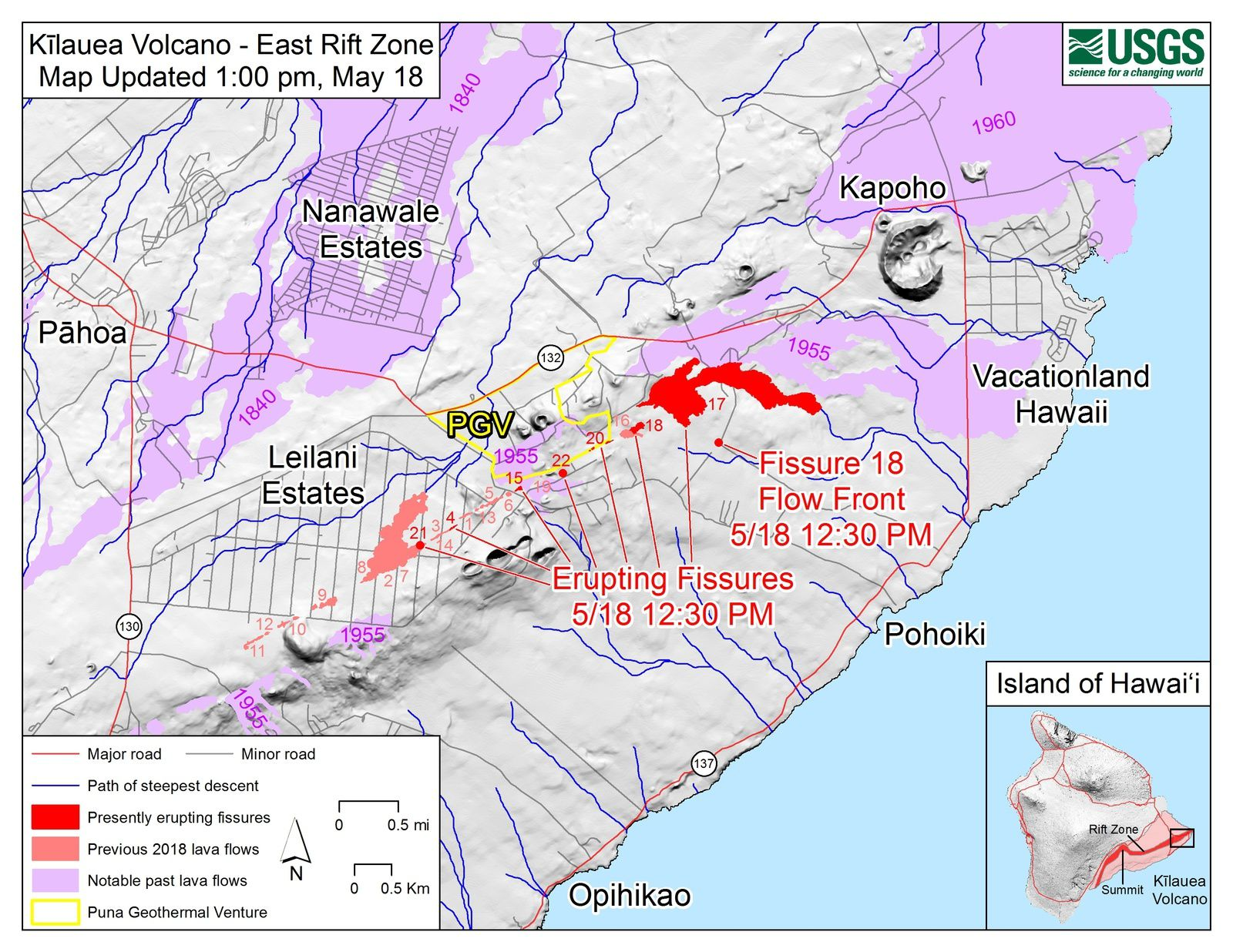 Kilauea - East rift zone: Maps of the flows and fissure2018 - map HVO-USGS 18.05.2018 / 13h