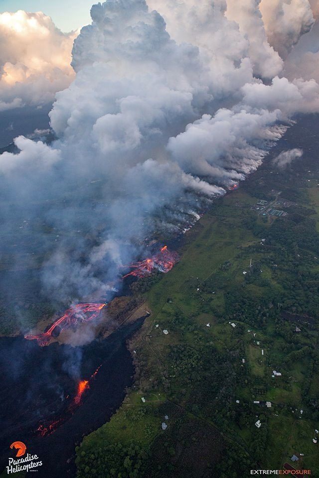 Kilauea - East rift zone 18.05.2018: the atmosphere is not at its best on the fissure- photo Bruce Omori / Paradise helicopters