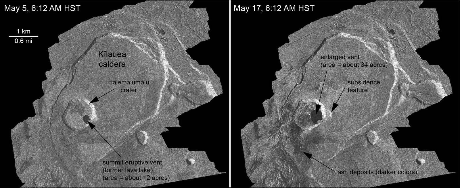 Kilauea - Radar images of the summit caldera and changes observed between May 5 and May 17, 2018, at 6:12 AM - doc. Italian Space Agency's Cosmo-SkyMed satellite system - one click to enlarge