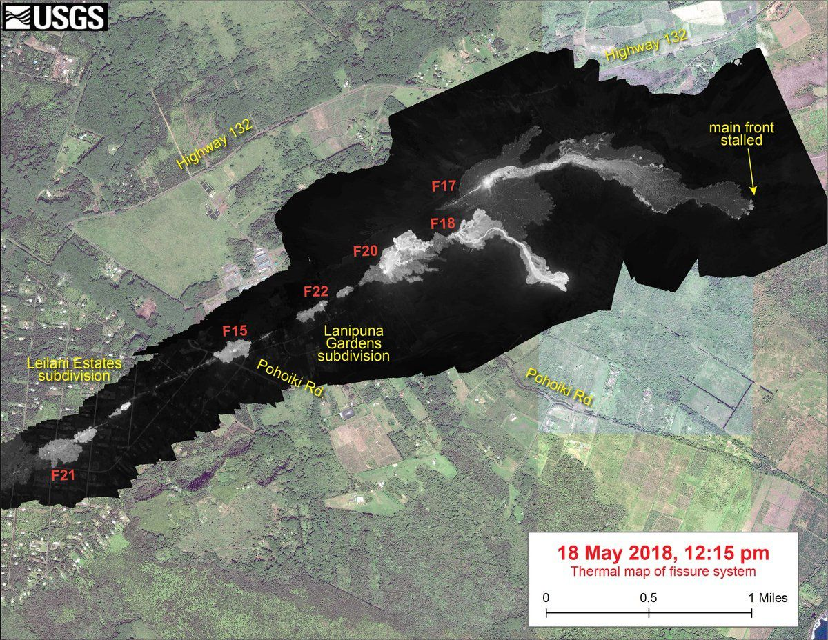 Kilauea East rift zone - the advance of the lava between May 18th and 19th, 12:15 pm - USGS thermal images - The position of the lava front at 6:40 pm is indicated by a red circle. The temperature in the thermal image is given in a gray-white value scale, where the brightest pixels indicate the hottest areas.