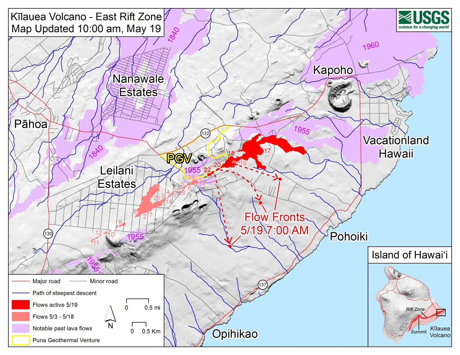 Kilauea East rift zone - maps of active flows at 19.05.2018 / 10h - Doc.USGS