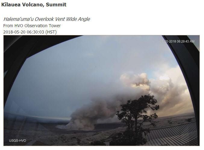 Kilauea - Crater Halama'uma'u / vent Overlook - plume of 20.05.2018 / 6h29 and day of 20.05.2018 / 13h11 HST- Doc .HVO-USGS
