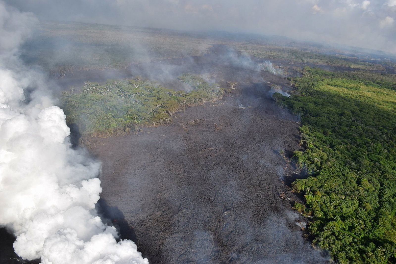 Kilauea East Rift Zone - view from sea to inland and lava flow around a kipuka - HVO-USGS photo
