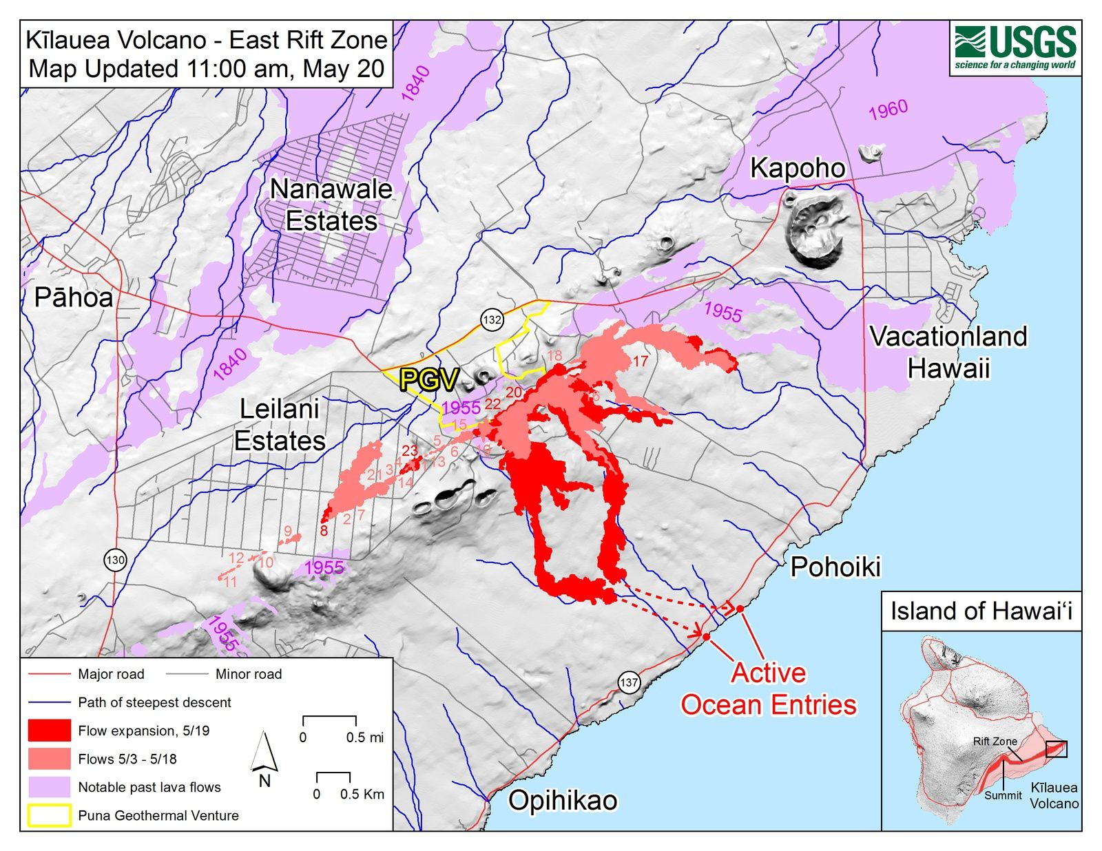 Kilauea East rift zone: 20.05.2018 / 10 am loc - map of the expanding flows (bright red) and of the flows issued between May 3rd and 18th (pink) - Doc HVO-USGS