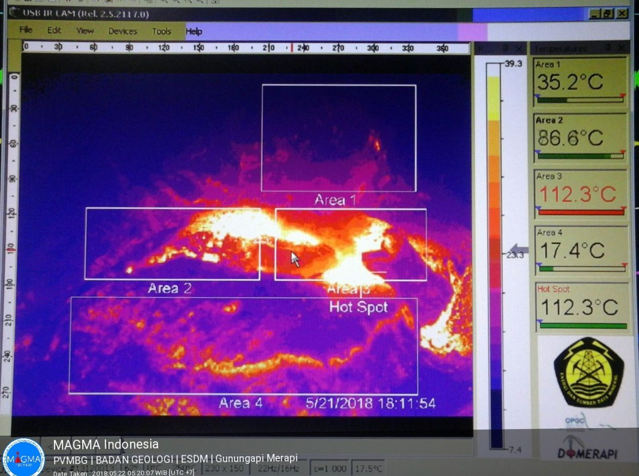 Merapi - temperatures in the crater on 21.05.2018 at 18:11 - photo Magma Indonesia