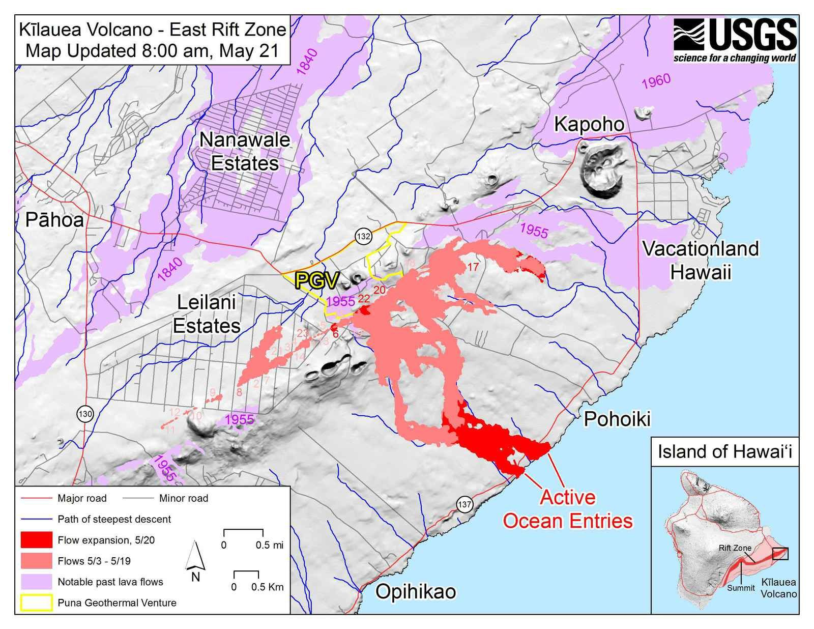 Kilauea East rift zone: map of active flows and fissuress and active entries at sea on 21.05.2018 / 08h - docHVO-USGS