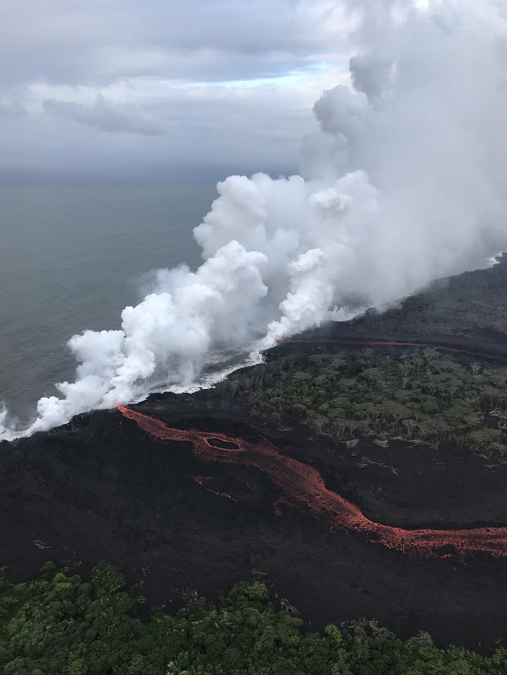 Kilauea East Rift Zone: Lava continues to enter into the sea in Two Locations - USGS Photo