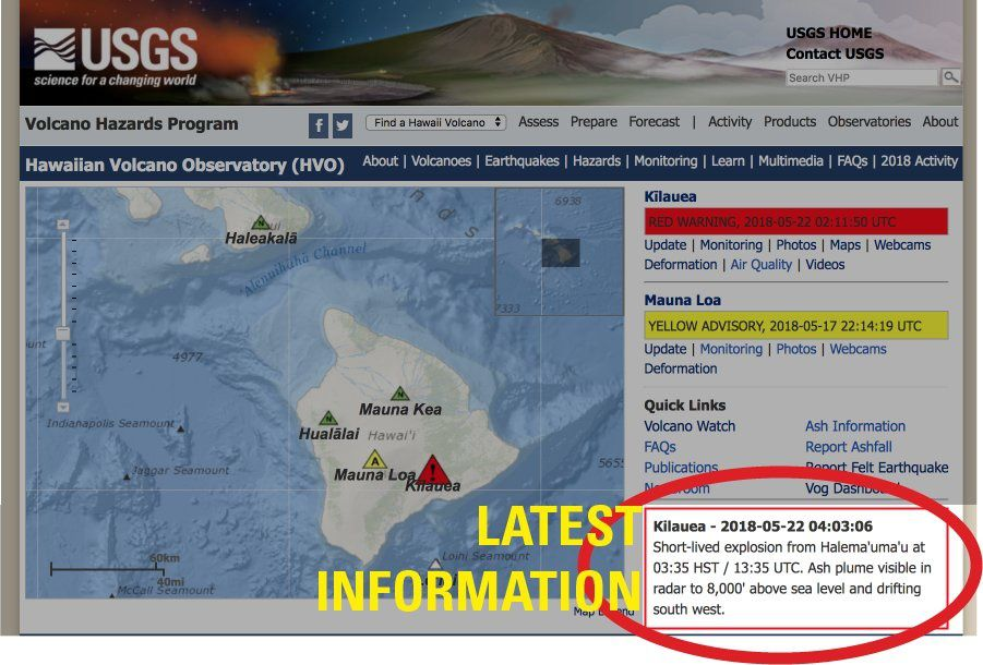 Kilauea summit - latest info from USGS
