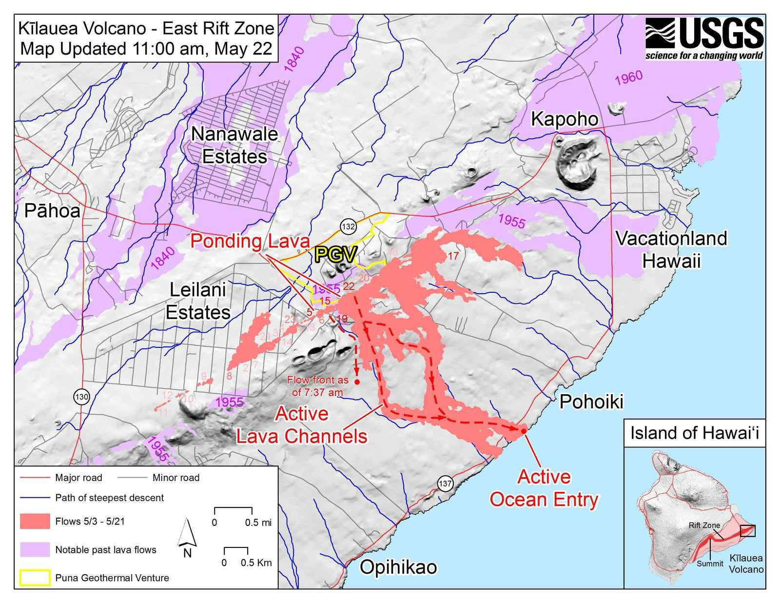 Kilauea East rift zone - lava flows and fissures map as of 22.05.2018 / 11h- Doc.HVO-USGS