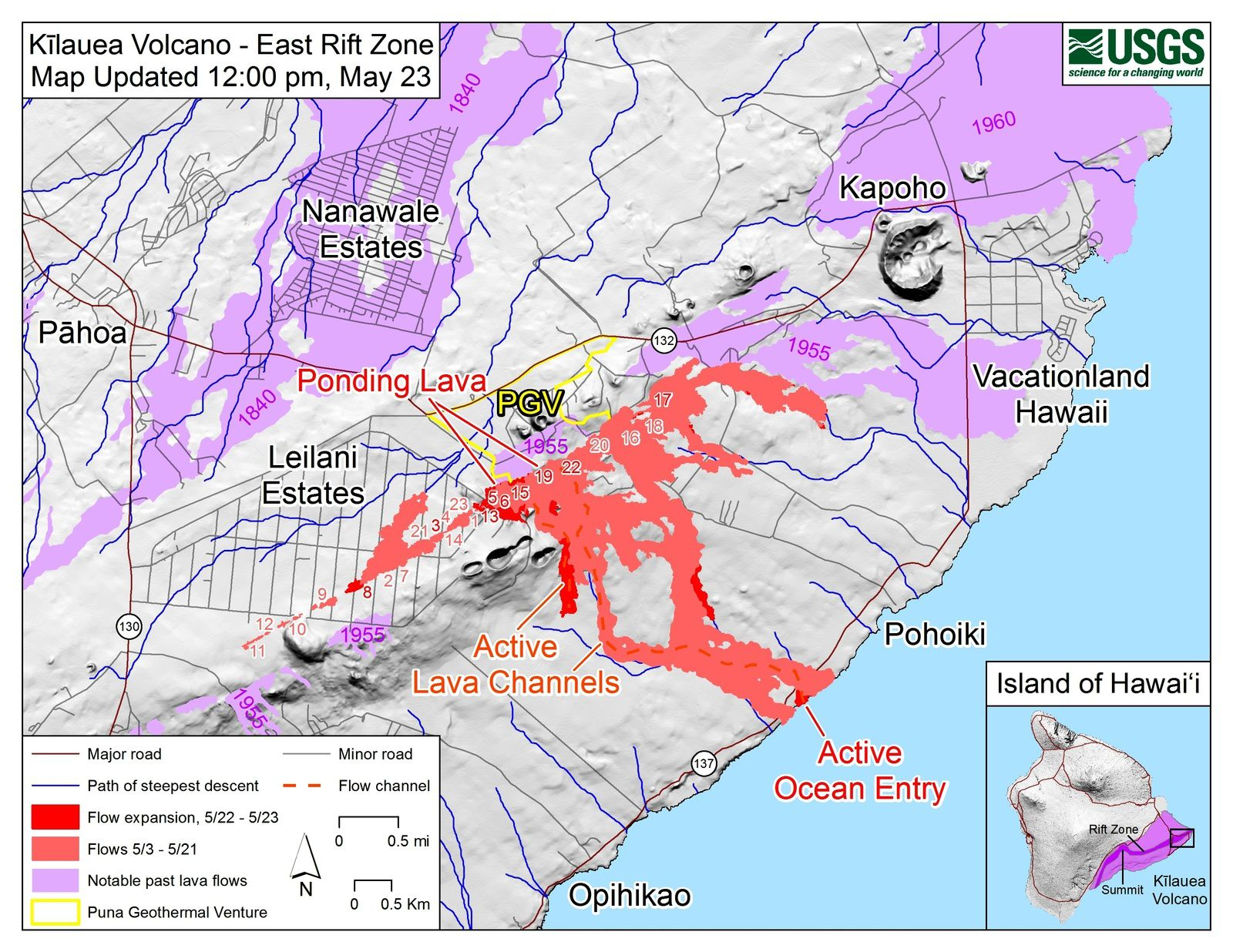 Kilauea East rift zone - map of the flows, cracks and lava pond at 23.05.2018 / 12h - Doc.HVO-USGS