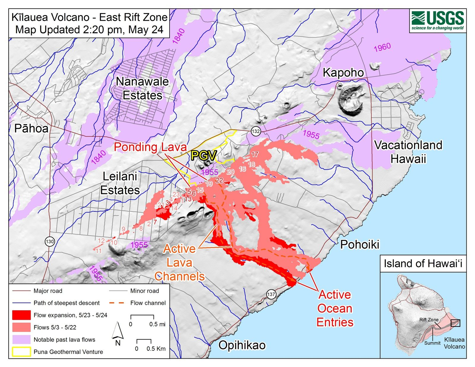 Kilauea East rift zone: map of fissures and active flows at 24.05.2018 / 14h20 - Doc. USGS-HVO