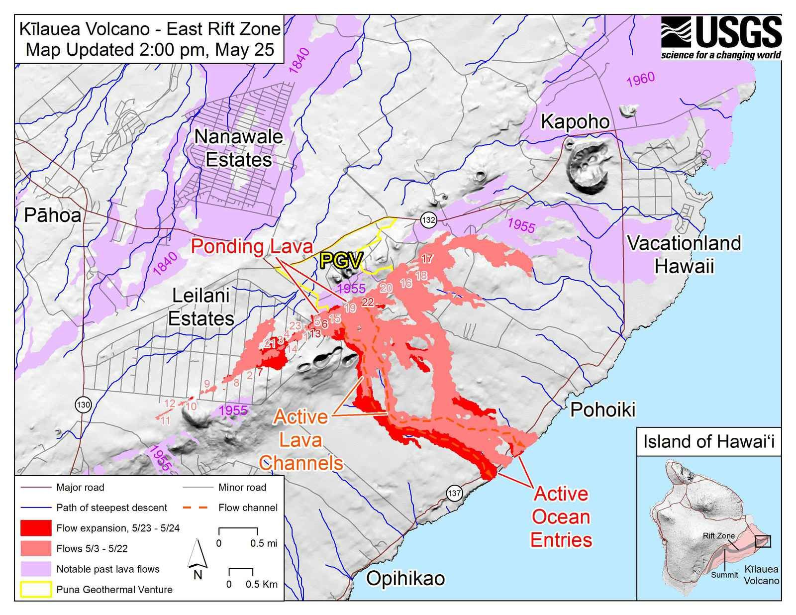 Kilauea East rift zone - map of the flows and cracks on 25.05.2018 / 2 pm - Doc. USGS-HVO