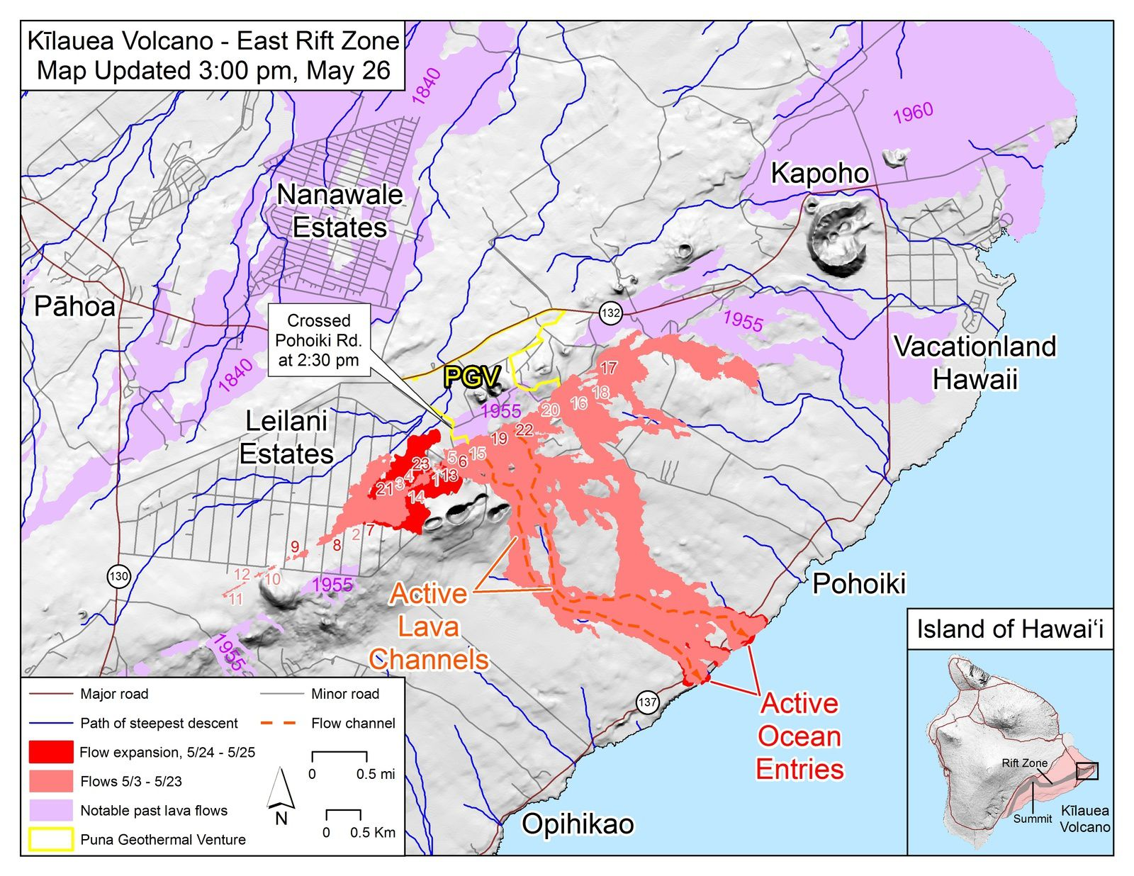 Kilauea East rift zone: map of active flows and fissures at 03:00 pm / 26.05.2018  - Doc. USGS-HVO