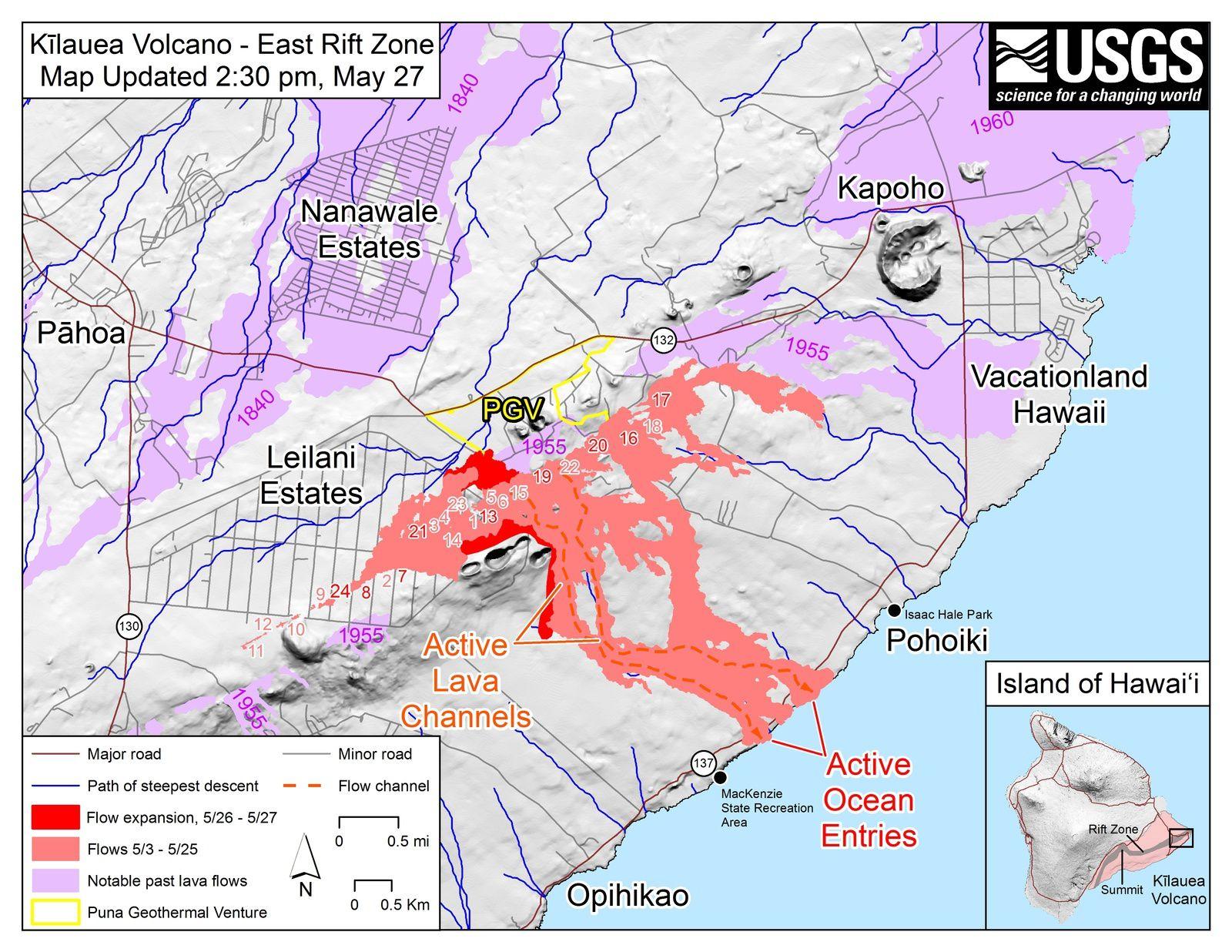 Kilauea Zone de rift Est  - Carte des fissures et coulées actives au 27.05.2018 / 14h30 loc - Doc HVO-USGS