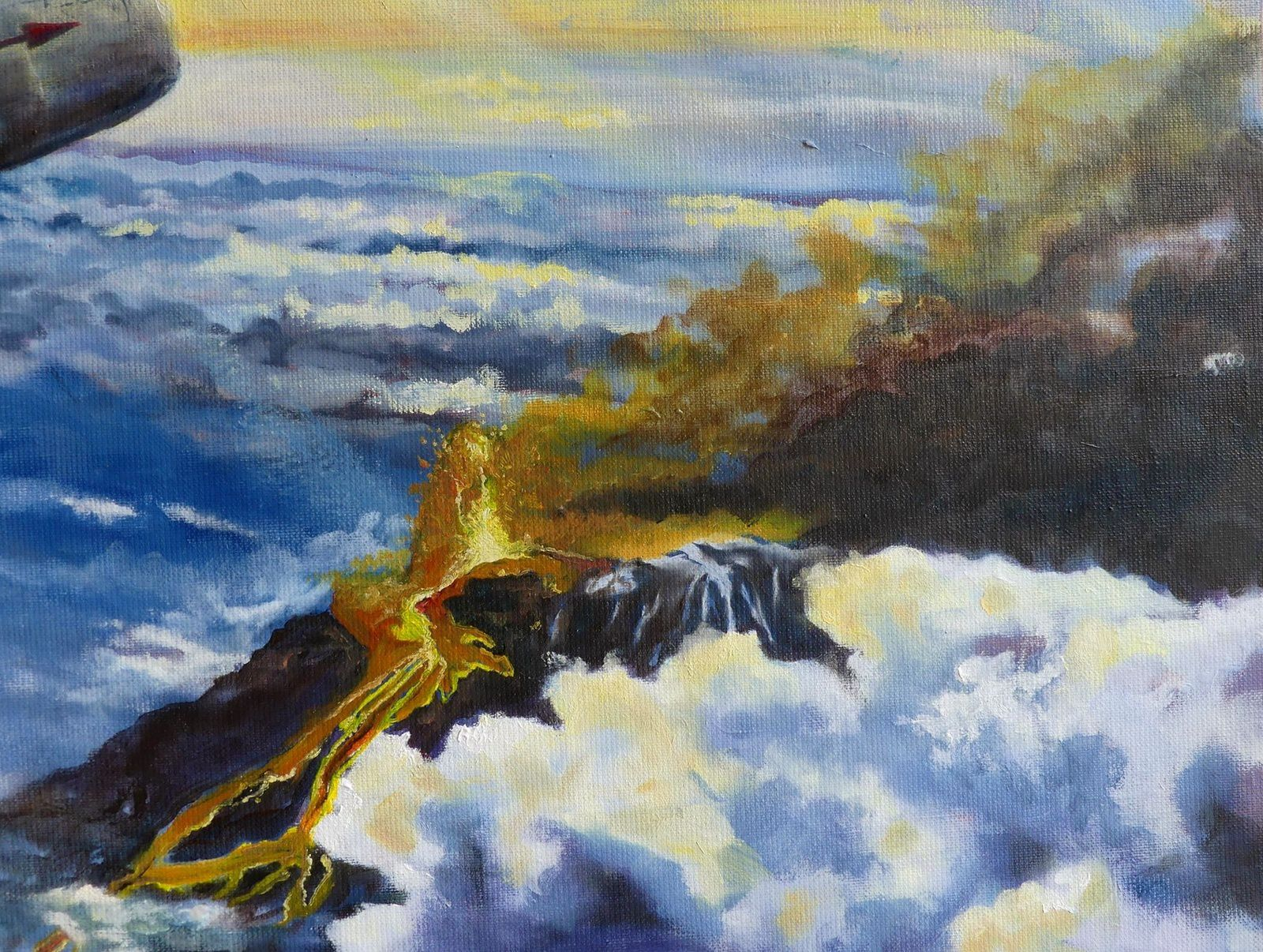 """Interception on eruption"", painting on canvas by Jocelyn Lardy - detail on a fountain and the lava flow it feeds."