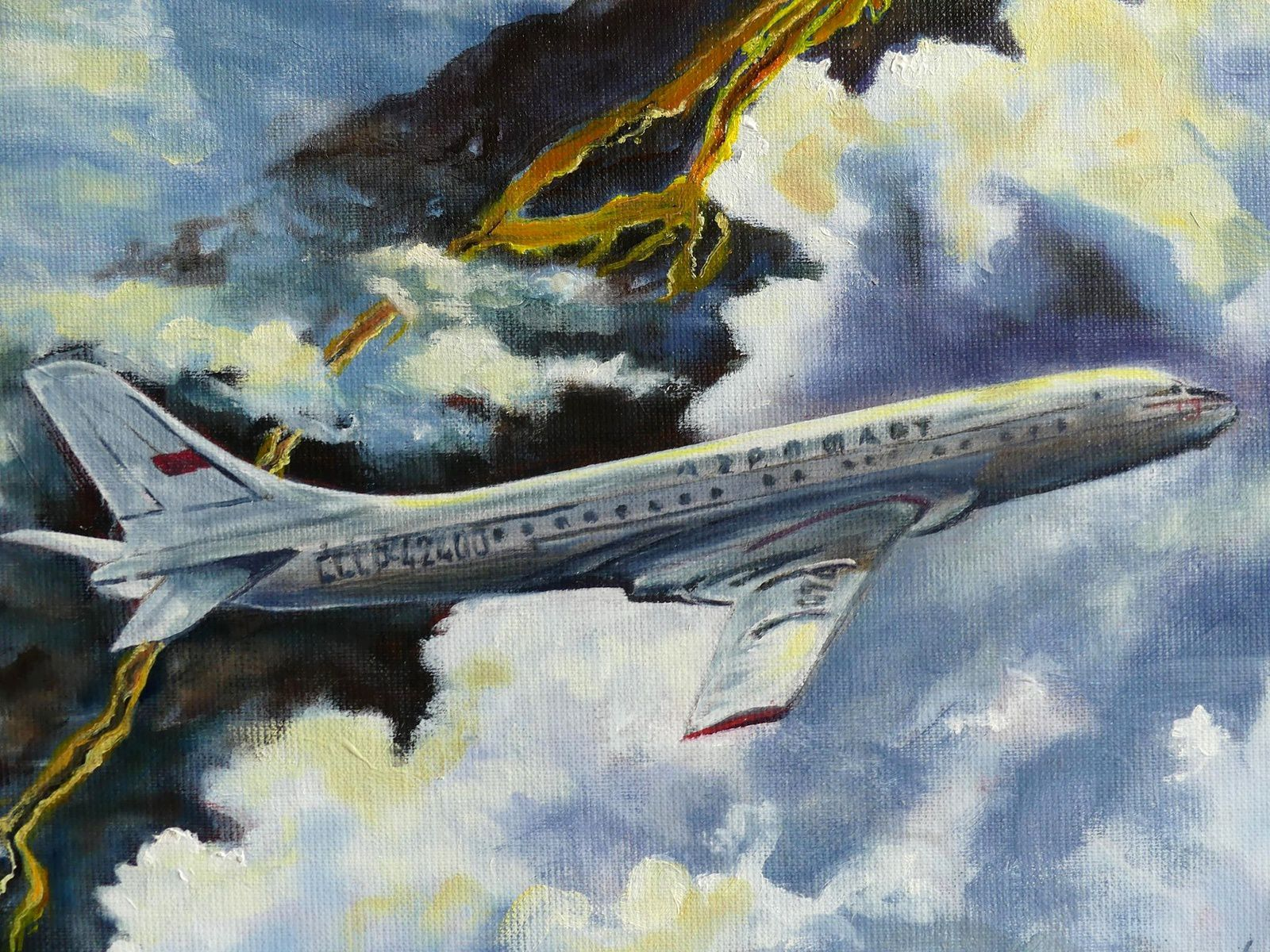 """Interception on Eruption"", painting on canvas by Jocelyn Lardy - detail"