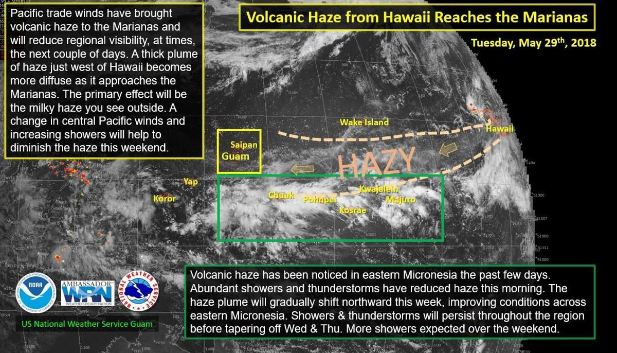 Le broiullard volcanique d'Hawaii touche les Mariannes - Doc.NOAA / US National Weather services