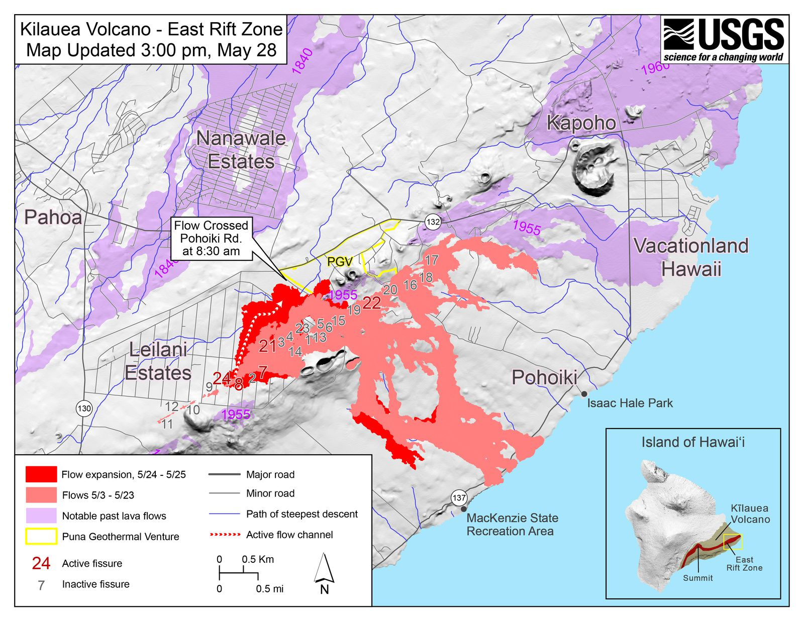 Kilauea East rift zone - map of fissures and active flows at 28.05.2018 / 15 h - Doc. USGS-HVO