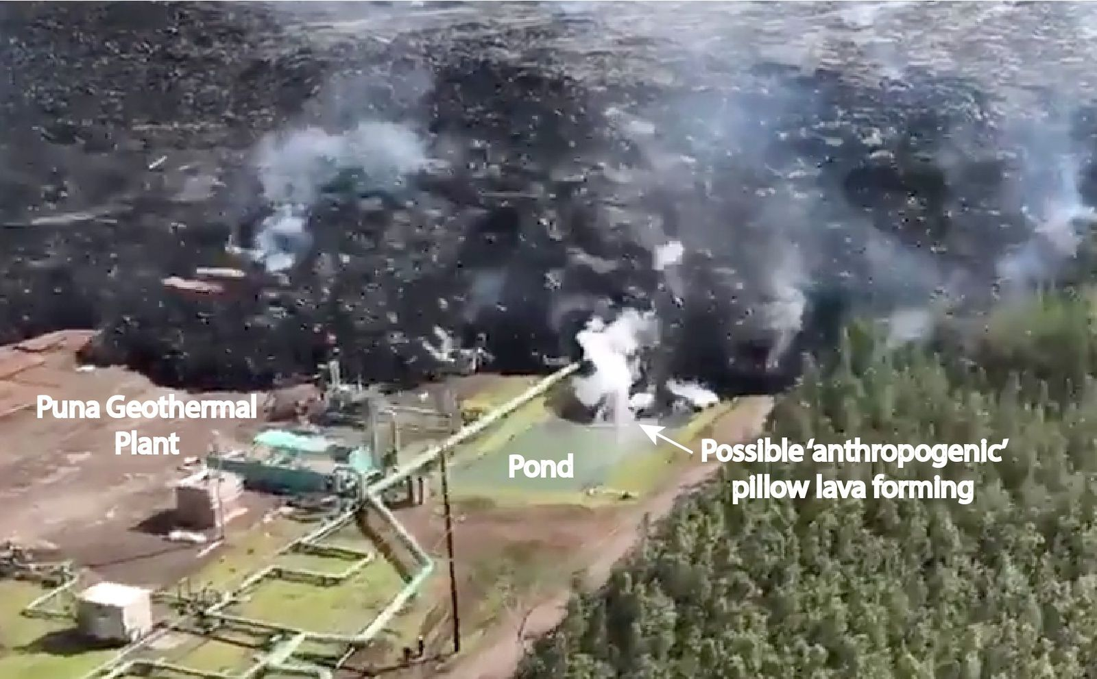 Kilauea Zone de rift Est  - 28.05.2018 - formation possible de Pillow lavas anthropogéniques suite à l'entrée de la lave dans une réservoir d'eau  - screen capture from video link from Mileka Lincoln