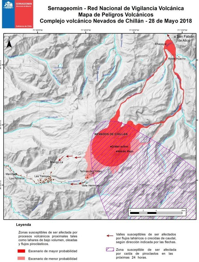 Map of volcanic risks for the Nevados de Chillan complex, updated on 28.05.2018 / Sernageomin