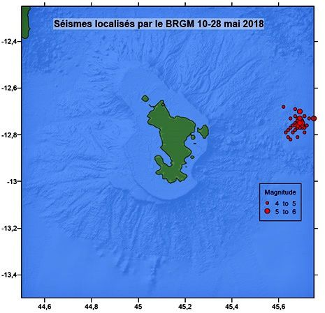 Mayotte - Locations of earthquakes from 10 to 28 May 2018. The location of earthquakes has not changed since the beginning of the crisis. © BRGM