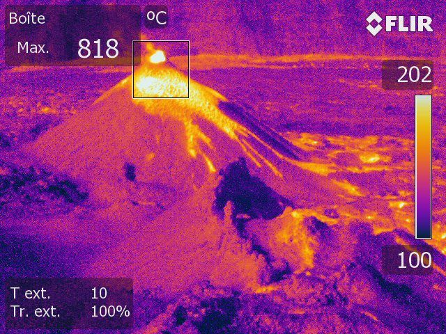 Piton de La Fournaise - Shooting of the eruptive site in thermal imaging on the 31/05/2018, 9am local time (OVPF / IPGP).