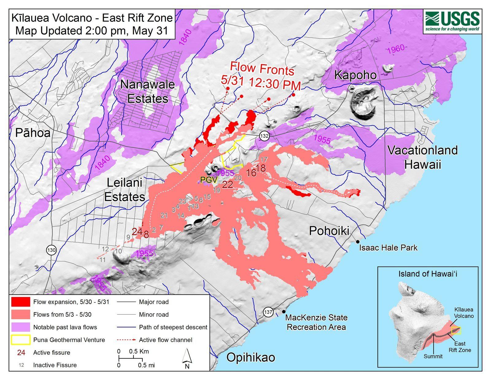Kilauea East rift zone - map of cracks and active flows at 31.05.2018 / 2 pm loc - Doc. Hvo-USGS