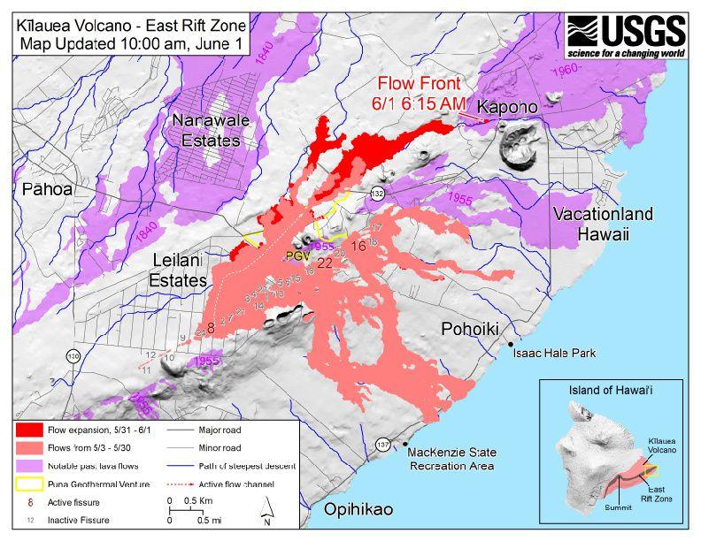 Kiluaea zone de rift Est - carte des fissures et coulées actives au 1°juin /10 h - Carte HVO-USGS