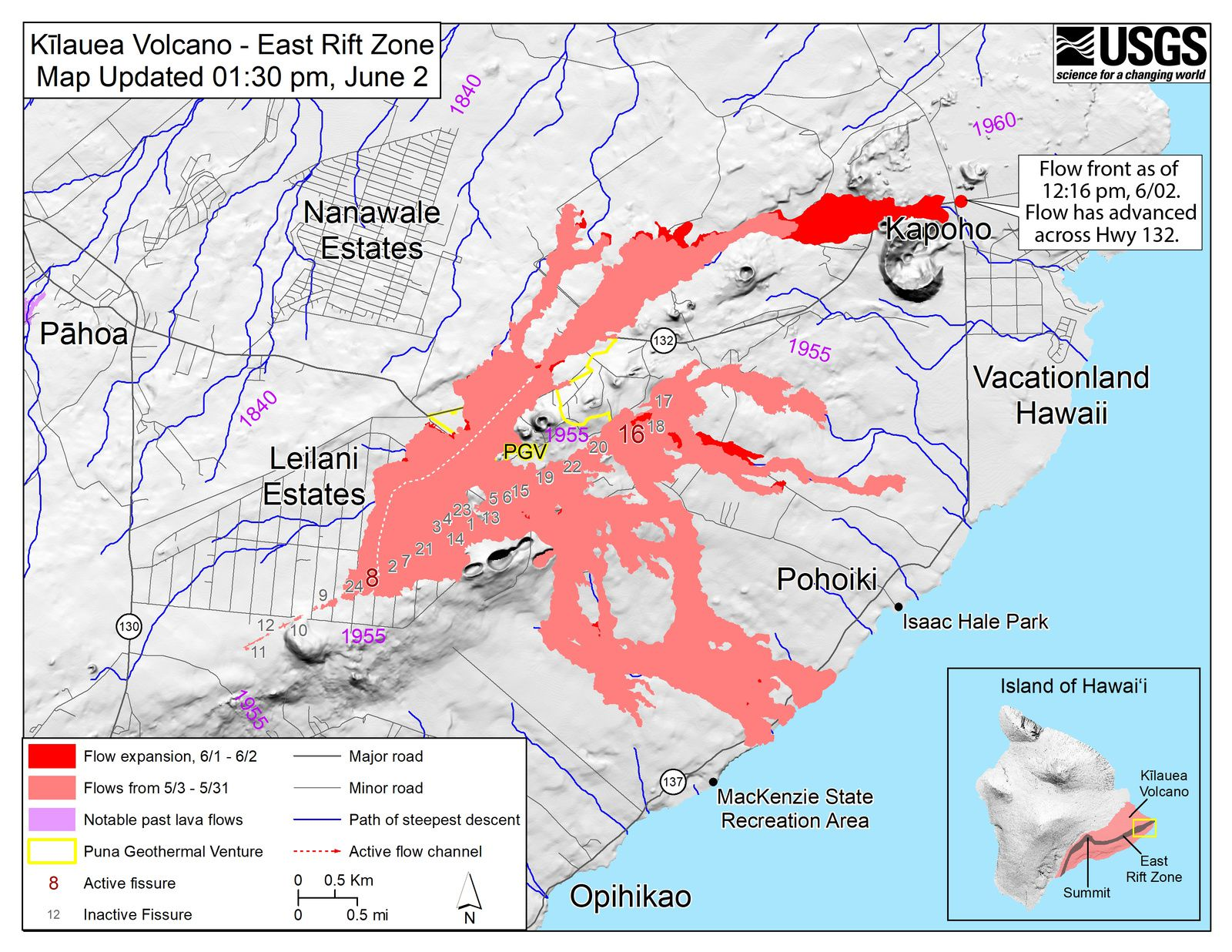 Kilauea East rift zone - map fissures and flows 8 and 16 active - map at 02.06.2018 / 13h30 / HVO-USGS
