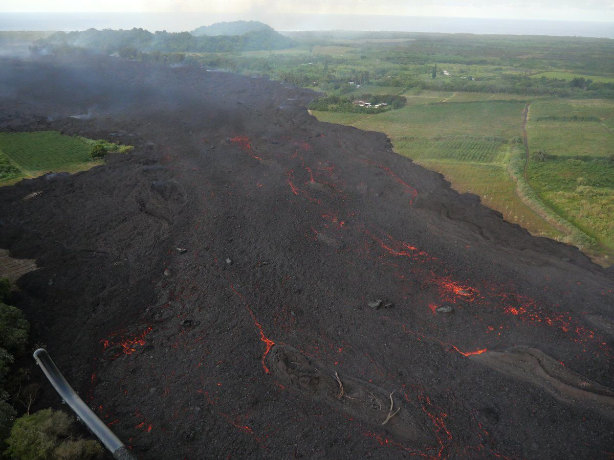 Kilauea East rift zone - the wide lava front towards the ocean - 02.06.2018 photo USGS