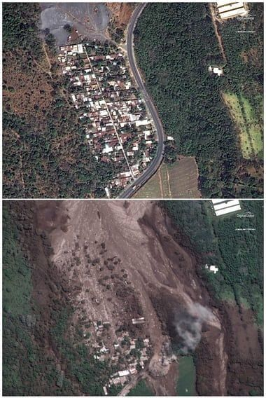 San Miguel Los Lotes - top, on 05.02.2018 and bottom, on 06.06.2018 after the eruption of Fuego - Photograph AP