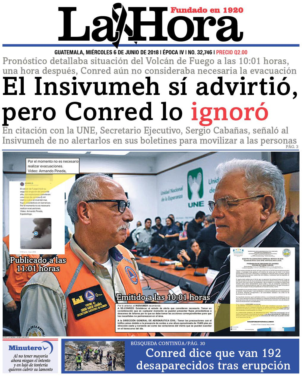 The front page of the newspaper La Hora of 06.06.2018 seems to put back the two supervisory authorities of the Fuego