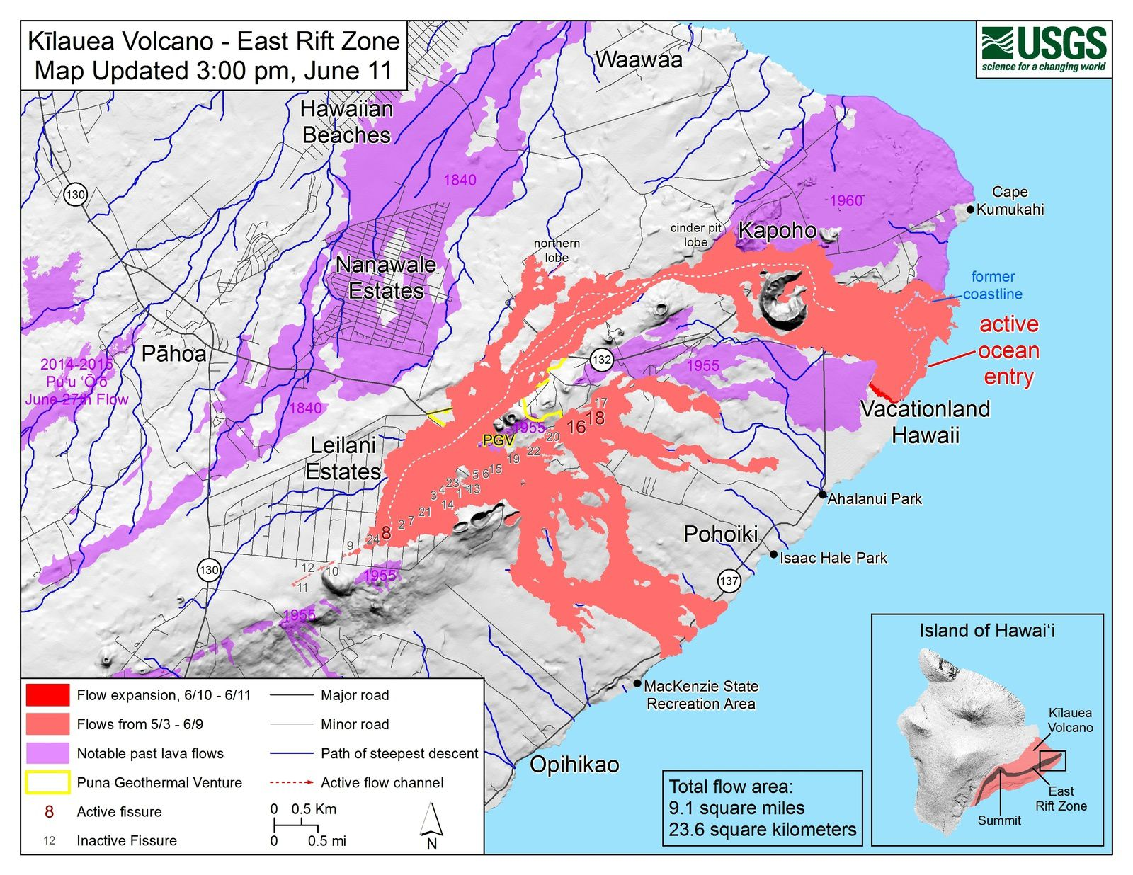 Kilauea East rift zone - map of active flows at 11.06.2018 / 15h - note the old blue dotted coastline - HVO-USGS map