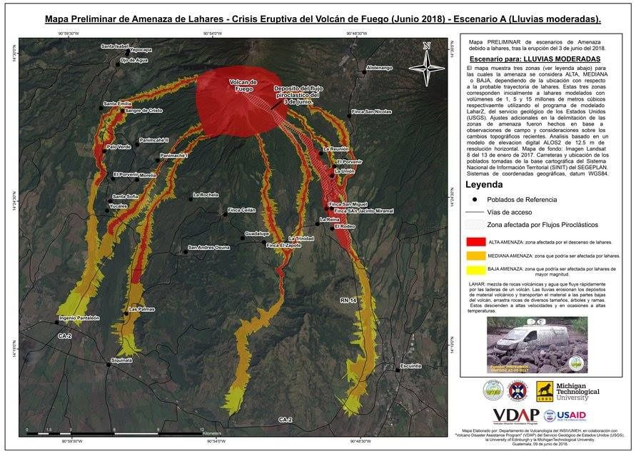 Fuego - preliminary maps of lahars threats with scenario in case of moderate rains (A), and more intense rains (B) - Doc.Insivumeh