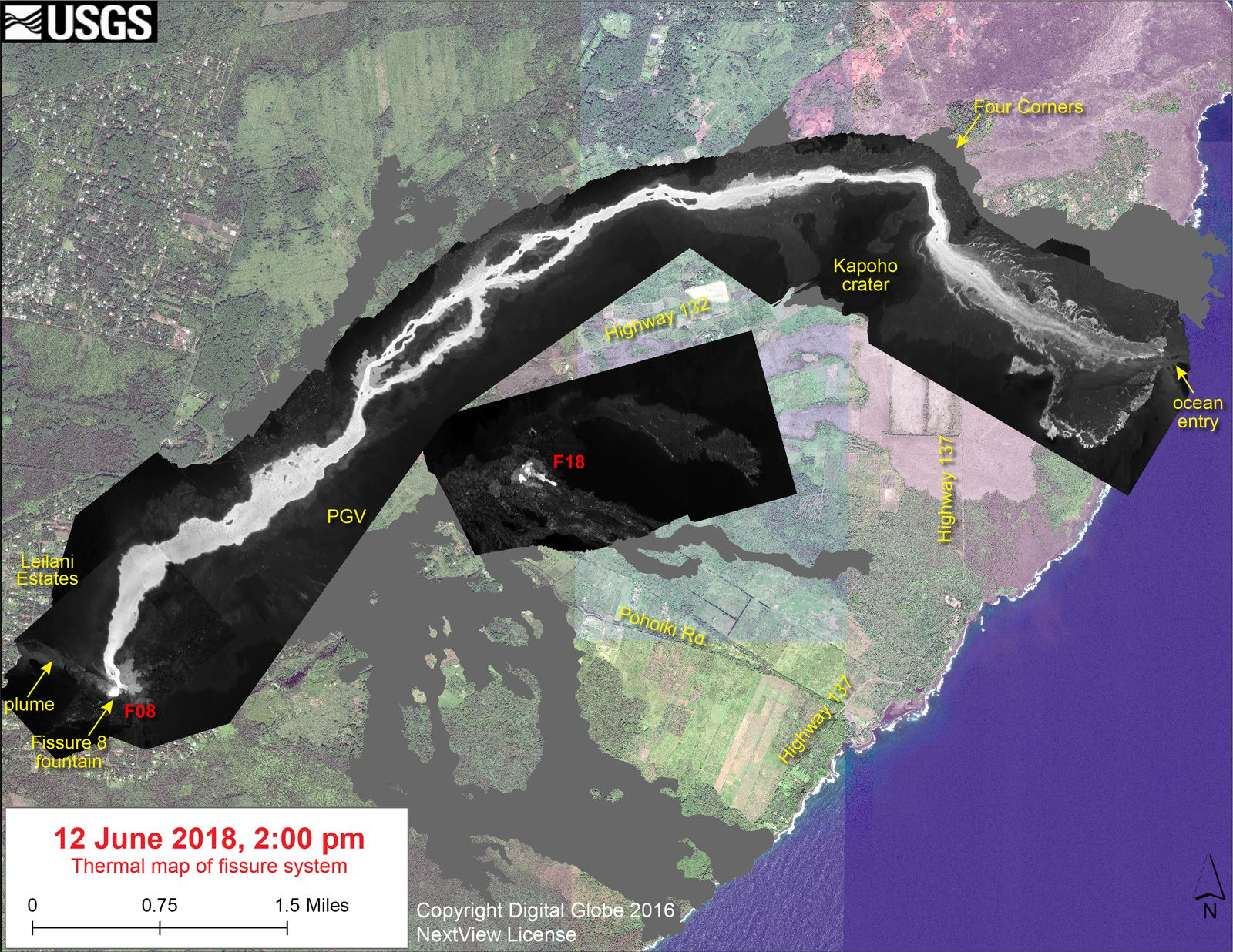 Kilauea East rift zone - thermal map of fissure system - 12.06.2018 / 14 h - HVO-USGS