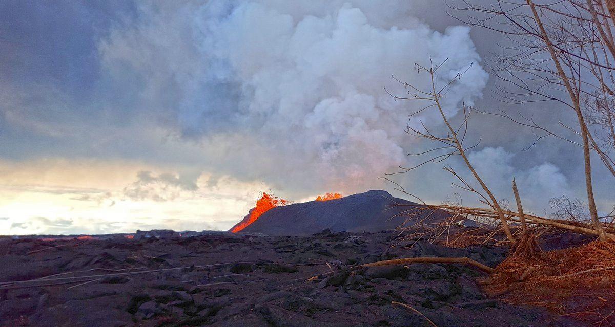 Kilauea zone de rift Est - 13.06.2018 - le spatter cone s'est allongé - photo USGS