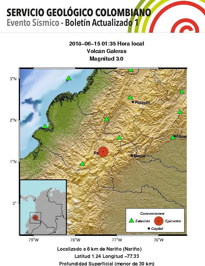 Galeras - earthquakes continue; the last one 15.06.2018 / 01h35 local - Magnitude 3 - SGC