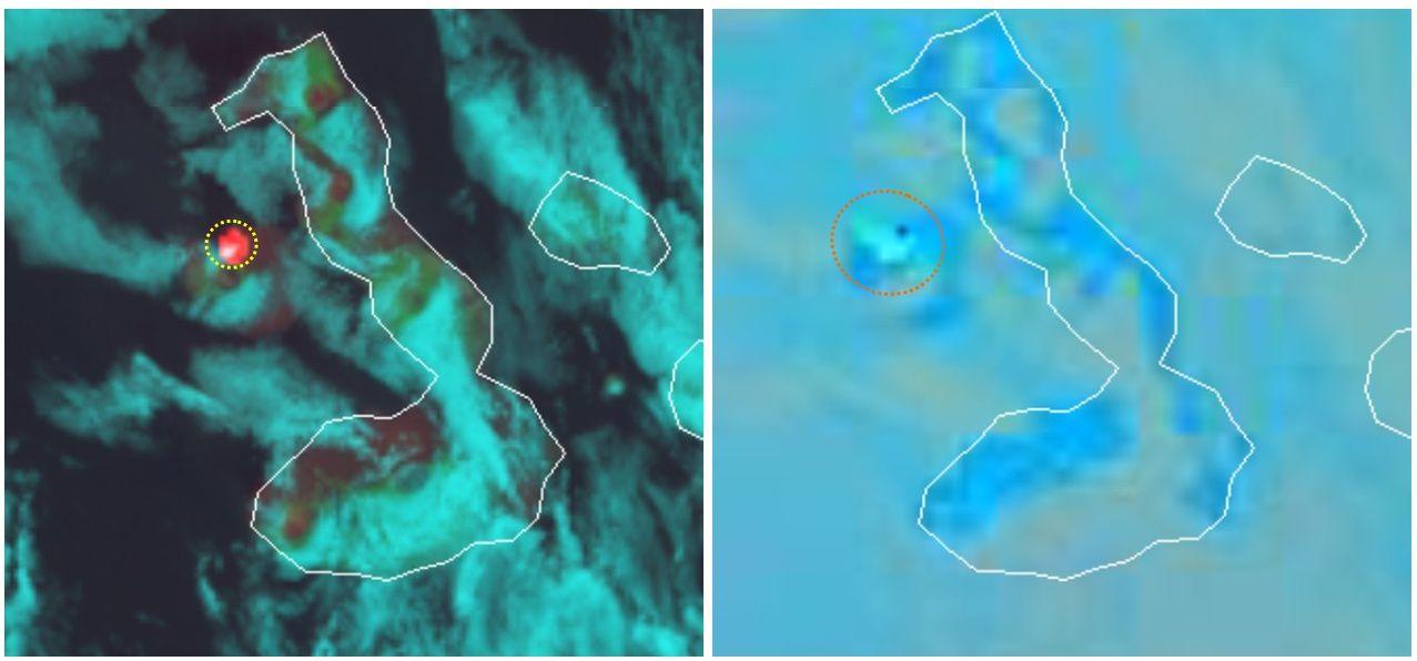 Fernandina - images satellite du 16.06.2018 , avec à gauche, l'anomalie thermique sur le flanc  NNE et à droite, le panache de gaz vers le SO - Doc.IGEPN