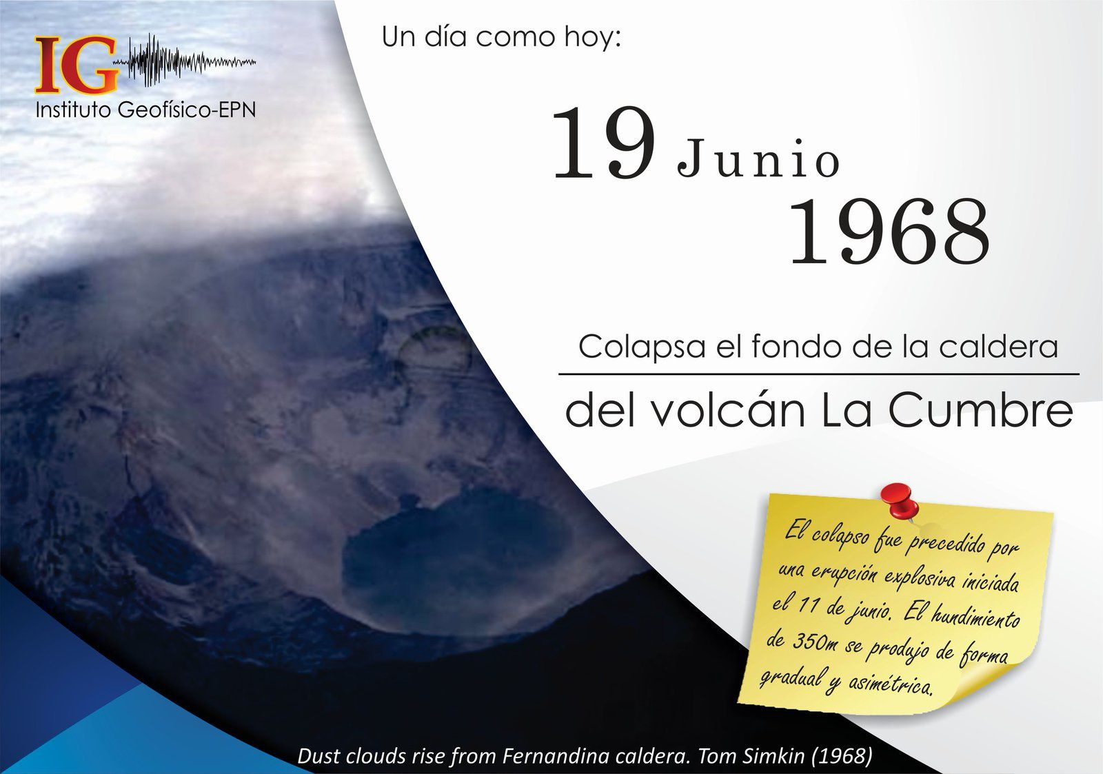 Fernandina - 19.06.1968 - Collapse of La Cumbre caldera - photo IGEPN