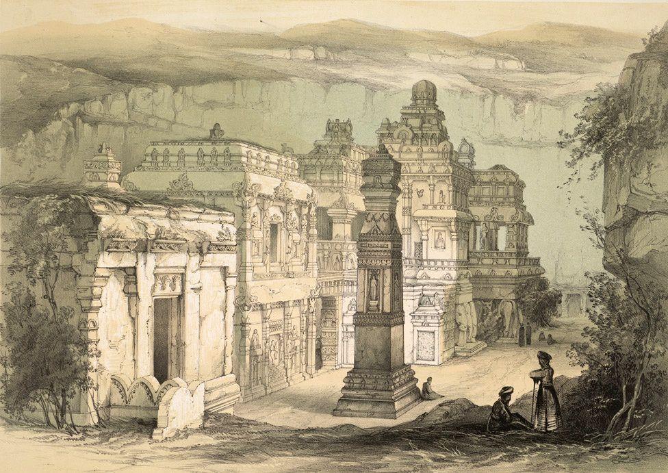 Le temple Kailâsanâtha - lithographie de James Fergusson et Thomas Dibdin, 1839