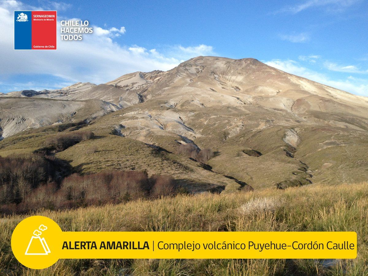 Le  Puyehue-Cordón Caulle est mis en alerte Amarilla ce 20 juin 2018 - Doc.Sernageomin