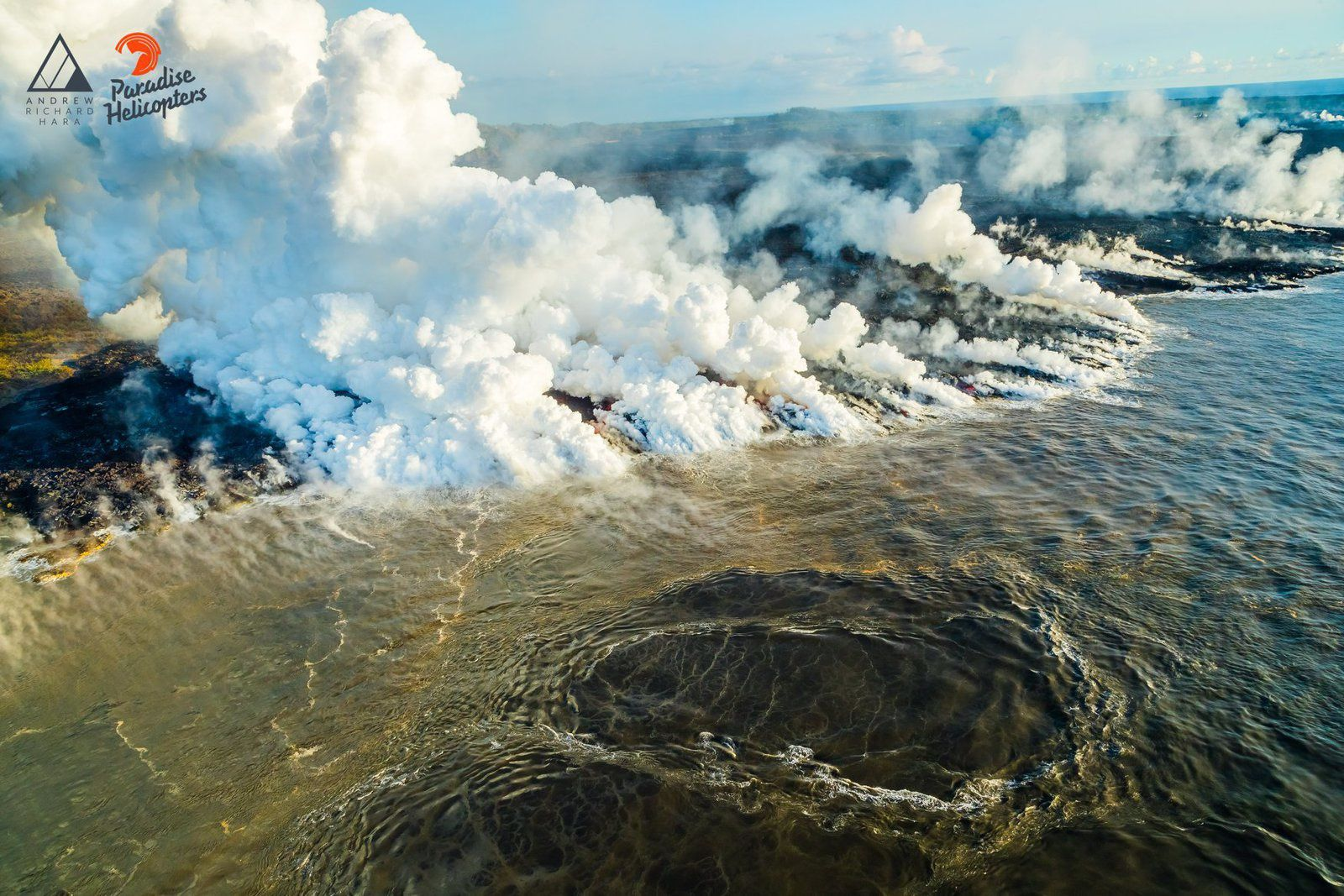 "Kilauea East Rift Zone - Interesting photo of ""upwelling vortex"" at sea on 20.06.2018 - photo Andrew Hara / Paradise helicopters"