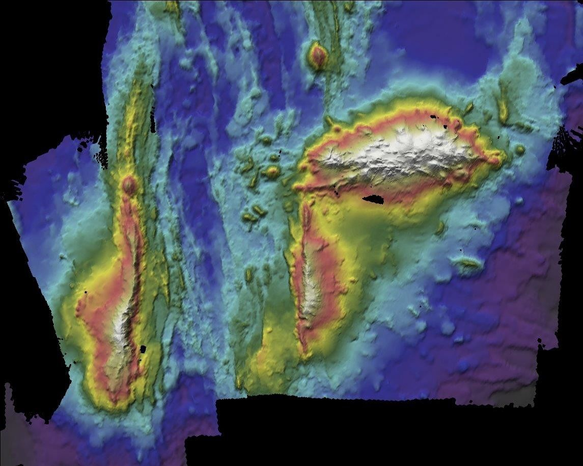 Bathymetric map of the Gigante submarine volcano, located on the Mid-Atlantic Ridge, separating the North American and Eurasian plates - Doc. Instituto Hidrográfico da Marinha Portuguesa.
