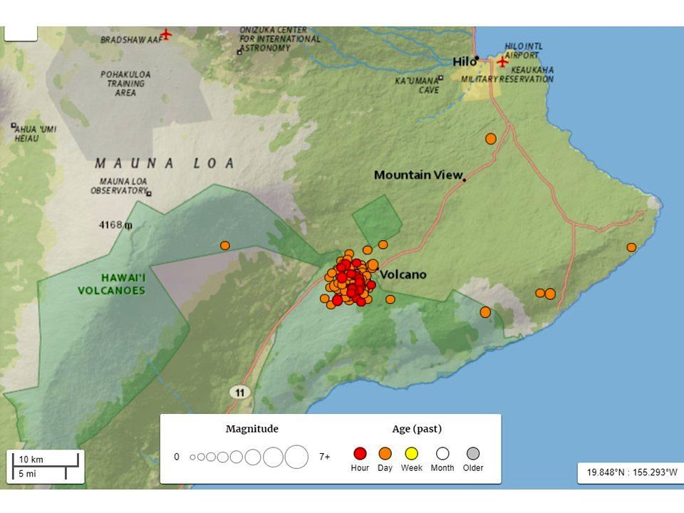 Kilauea sommet - Essaim sismique - doc.HVO