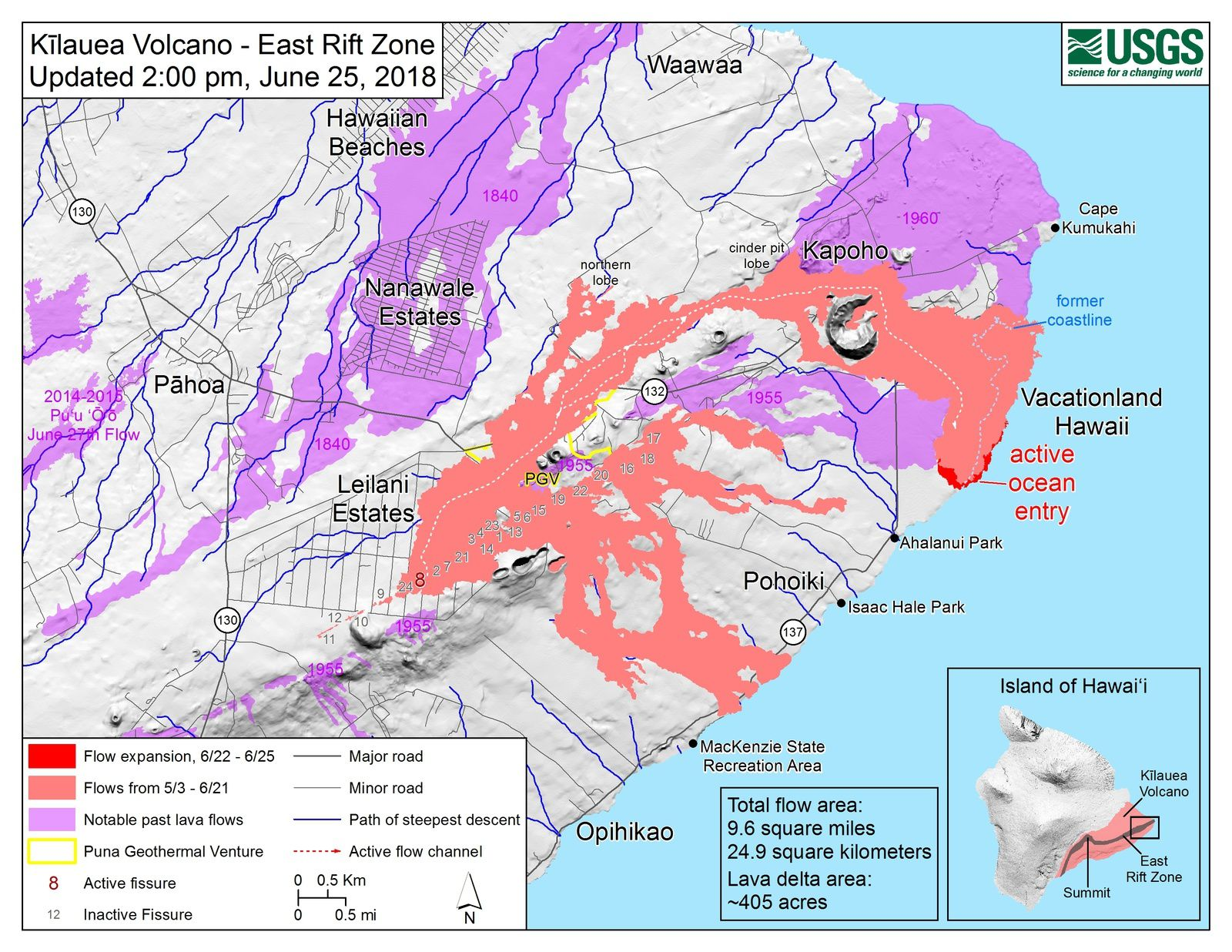 Kilauea East rift zone - map of the flows at 25.06.2018 / 2 pm - Doc HVO-USGS