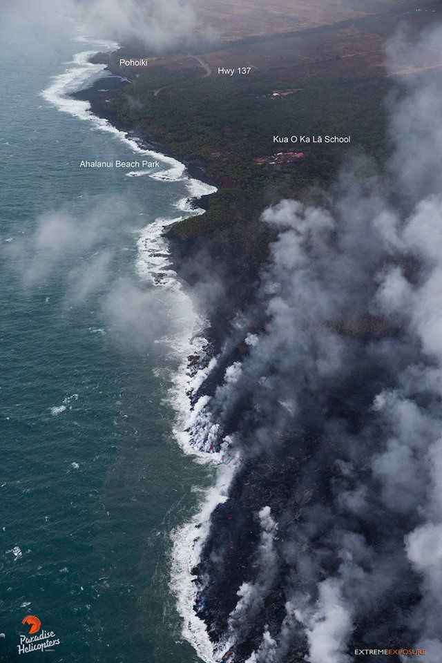 Kilauea East rift zone - 27.06.2018 - the active flow is 800 m away from Ahalanui Beach Park. - photo Bruce omori / Paradise helicopters