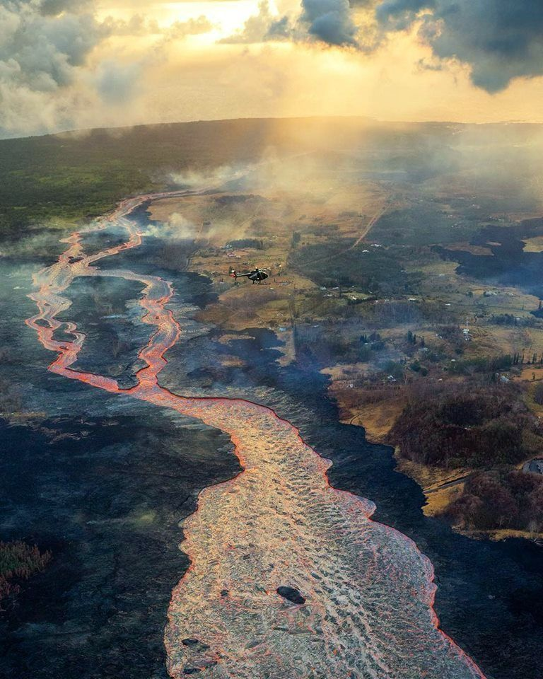 Kilauea East Rift Zone - Lava Flow from fissure8 on June 28th - Photo Bruce Omori / Paradise Helicopters