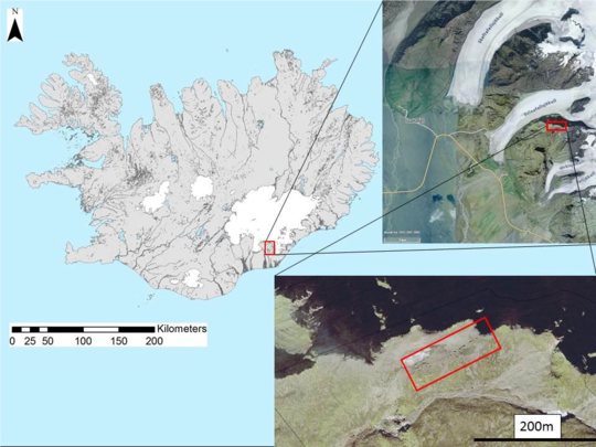 Location of the fracture on Svinafellsjökull - Doc IMO 22.06.2018 (Map from Daniel Ben-Yehoshua 2016)