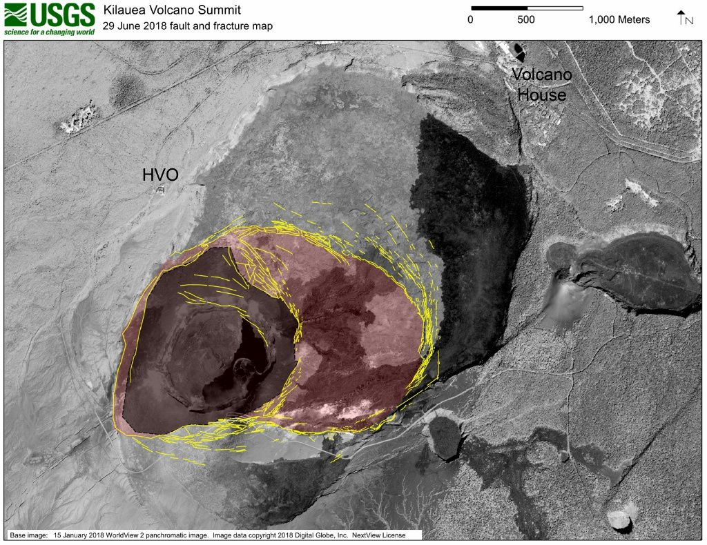 Kilauea summit: High-resolution satellite data are useful for mapping cracks and deformation in the summit caldera at Kīlauea Volcano. This map shows major fractures in yellow (as of June 29) on a base image acquired by the WorldView-2 satellite before the current sequence of events began at Kīlauea. The area of major subsidence has expanded east and south, and slightly west, of the main Halema'uma'u crater area. The large, red-shaded area east of Halema'uma'u is moving down within a scarp-bounded area, as seen in recent photographs of the summit. Some fractures have also formed to the east-northeast of the red-shaded area of accelerated motion, and also on the south caldera rim where parts of the caldera wall have slumped into the rapidly moving caldera floor below. The dark gray-shaded area within the red shaded area shows the region of most significant down dropping and is currently the deepest part of Kīlauea caldera. - USGS